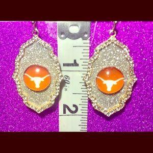 Texas Longhorns Gold w/Rhinestone Glitter Earrings